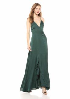 Keepsake The Label Women's Infinity Sleeveless Silky Ruffle Trim Maxi Gown Long Dress  M
