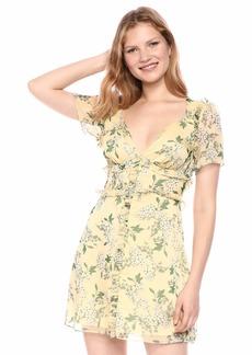 Keepsake The Label Women's Luscious Short Sleeve Ruffle Trim Mini Dress  XS
