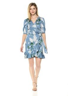 Keepsake The Label Women's Moment Short Sleeve Ruffle Mini Wrap Dress  L