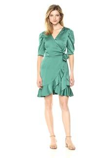 Keepsake The Label Women's Moment Short Sleeve Ruffle Mini Wrap Dress  M