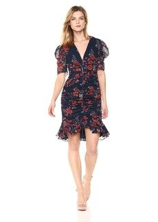 Keepsake The Label Women's Need You Now Floral Print Puff Sleeve Ruched Ruffle Dress  M