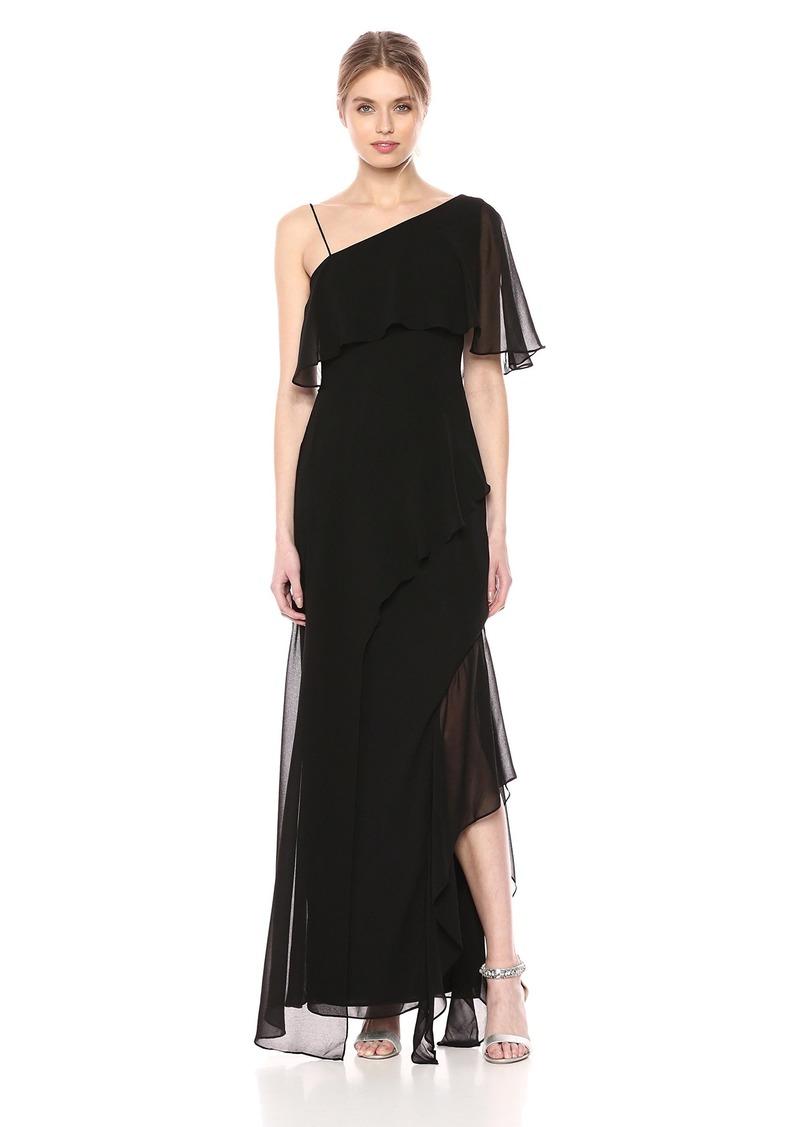 Keepsake The Label Women's No Love One Shoulder Flutter Sleeve Gown  L