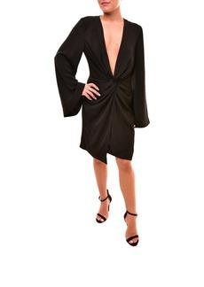 Keepsake The Label Women's No Love V Neck Long Sleeve Twist Front Mini Dress  M