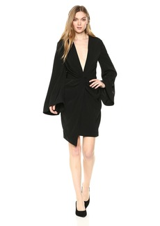 Keepsake The Label Women's No Love V Neck Long Sleeve Twist Front Mini Dress  XL