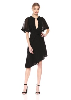 Keepsake The Label Women's No Love V-Neck Long Sleeve Twist Front Mini Dress  M