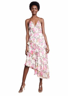 Keepsake The Label Women's Oblivion Sleeveless Asymmetrical Long Midi Dress  l