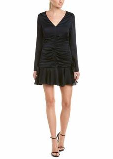 Keepsake The Label Women's Oceans Long Sleeve V Neck Ruched Flounce Mini Dress  XS
