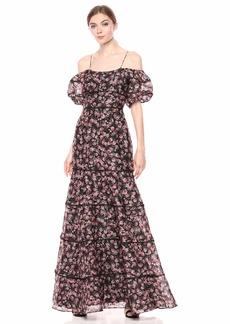 Keepsake The Label Women's One Love Cold Shoulder Floral Mermaid Long Gown Maxi Dress Black Rose s