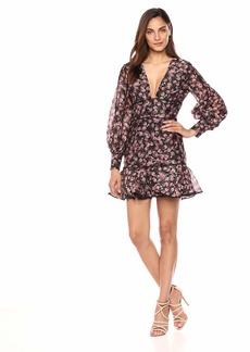 Keepsake The Label Women's ONE Love Puff Sleeve FIT & Flare Floral Longsleeve Dress Black Rose XS