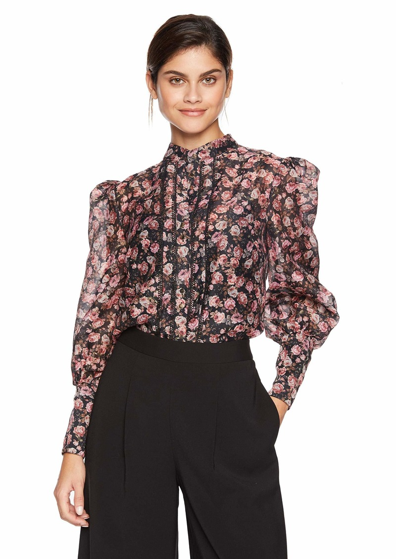 Keepsake The Label Women's ONE Love Puff Sleeve Floral Print Blouse TOP Black Rose M