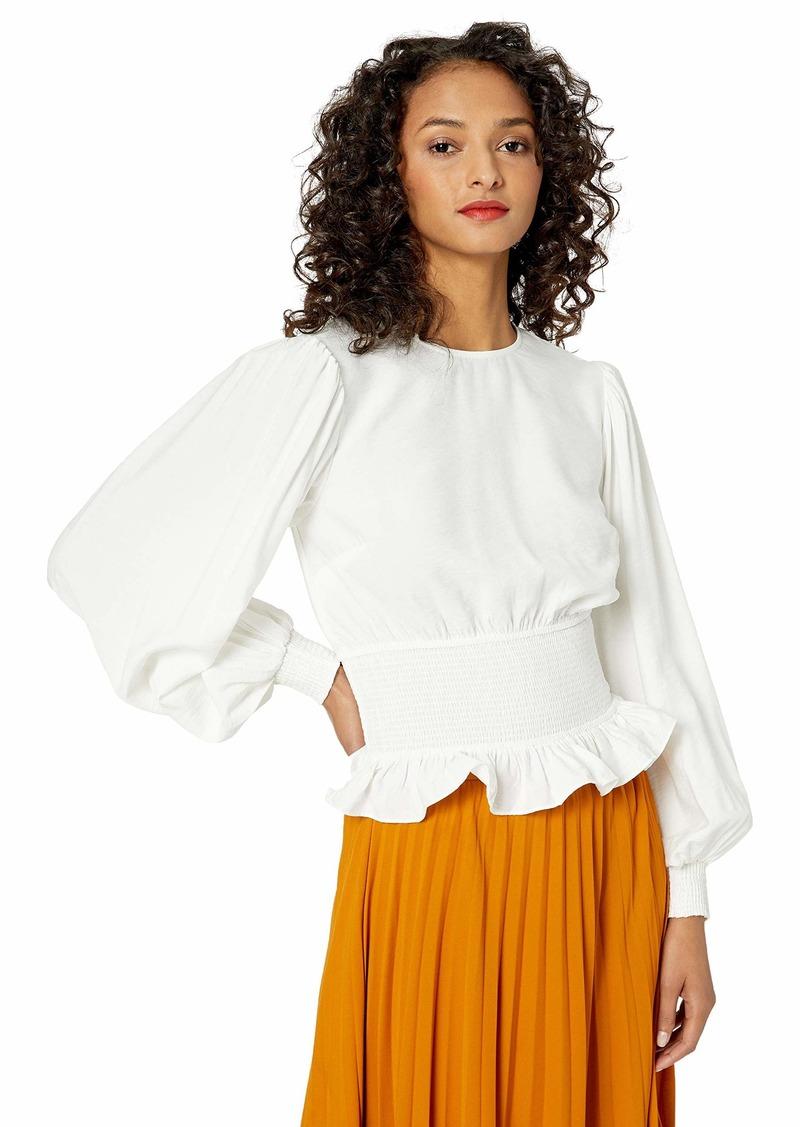 Keepsake The Label Women's Secure Long Sleeve Smocked Peplum Blouse Top  l