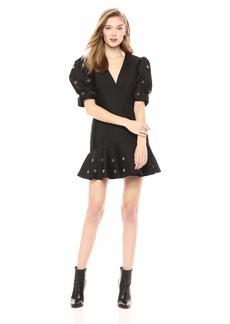 Keepsake The Label Women's Starlight Puff Sleeve Bead Embellished Short Dress  S