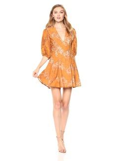 Keepsake The Label Women's This Love Lace Puff Short Sleeve V Neck Mini Dress  XL