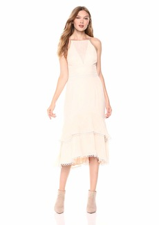 Keepsake The Label Women's Too Close Sleeveless Pleated Tier Ruffle Midi Dress  S