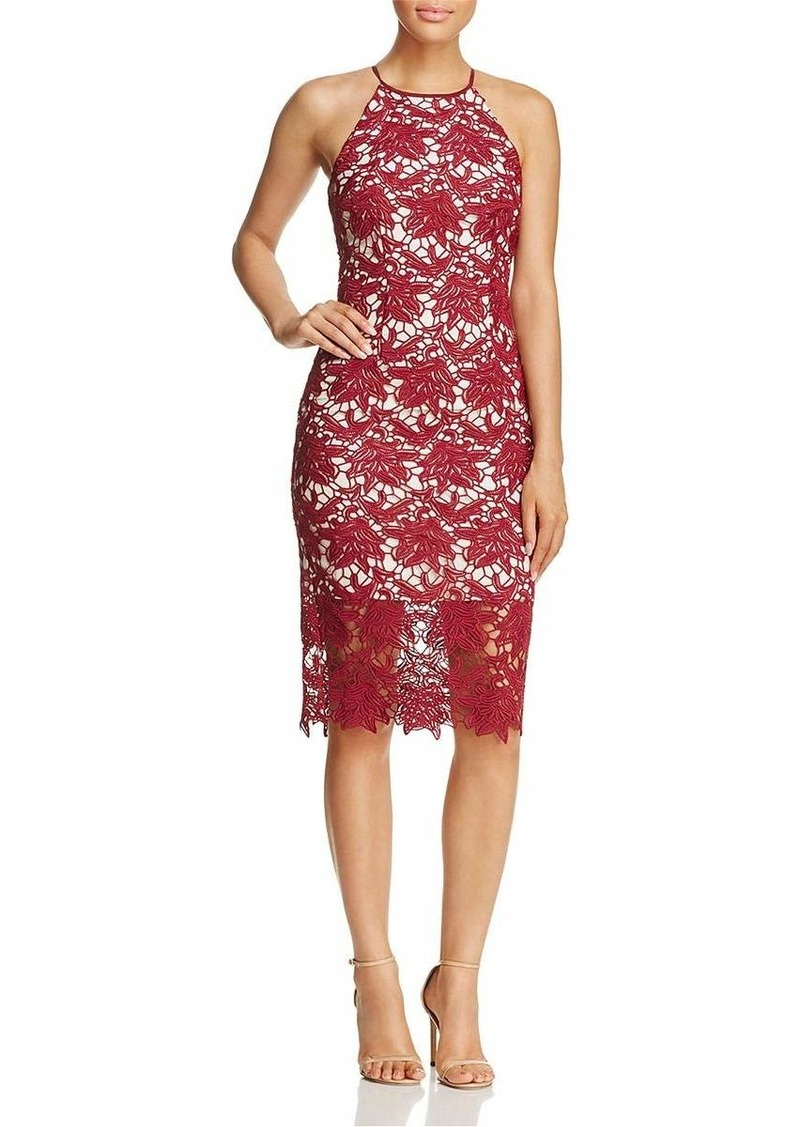 Keepsake The Label Women's True Love Halter LACE MIDI Sheath Dress