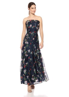 Keepsake The Label Women's Untouchable Strapless Floral Printed Gown with Pleated Skirt Navy M