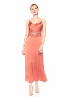 Keepsake The Label Women's Vienna Sleeveless Cowl Neck Lace Inset Slip Dress  S