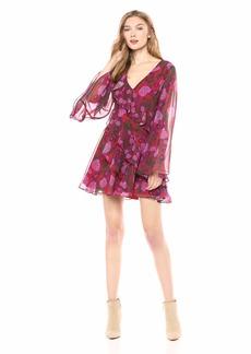 Keepsake The Label Women's Waves Long Bell Sleeve Ruffle WRAP Dress  S