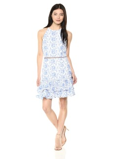 Keepsake The Label Women's Wild Things Sleeveless LACE Tiered Ruffle Mini Dress  S