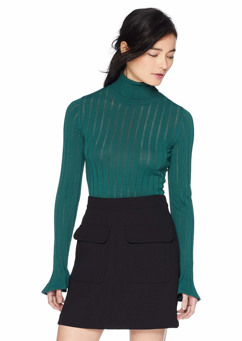 Keepsake The Label Women's Worship Turtleneck Knit Top with Flare at Wrists  L
