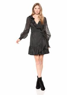 Keepsake The Label Women's Young Hearts Long Sleeve Mini Wrap Dress with Ruffles  S