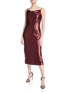 Keepsake No Signs Sequin Cowl-Neck Midi Dress
