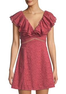 Keepsake Unraveled Ruffle Eyelet A-Line Dress
