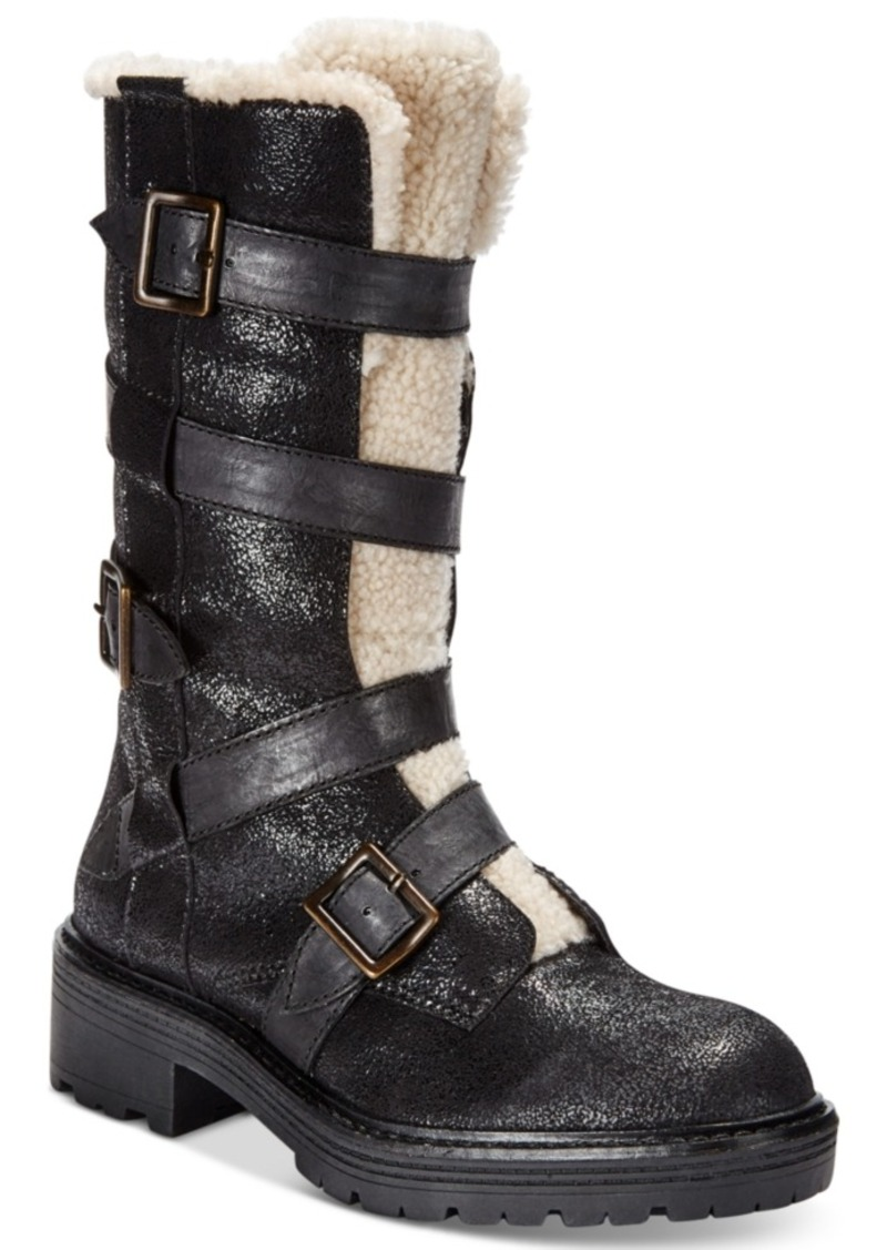 Kelsi Dagger Brooklyn Moore Buckled Block-Heel Mid-Shaft Boots Women's Shoes
