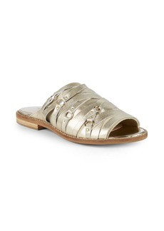 Kelsi Dagger Metallic Leather Slides