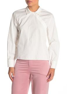 Kendall + Kylie Asymmetrical Button Front Long Sleeve Shirt