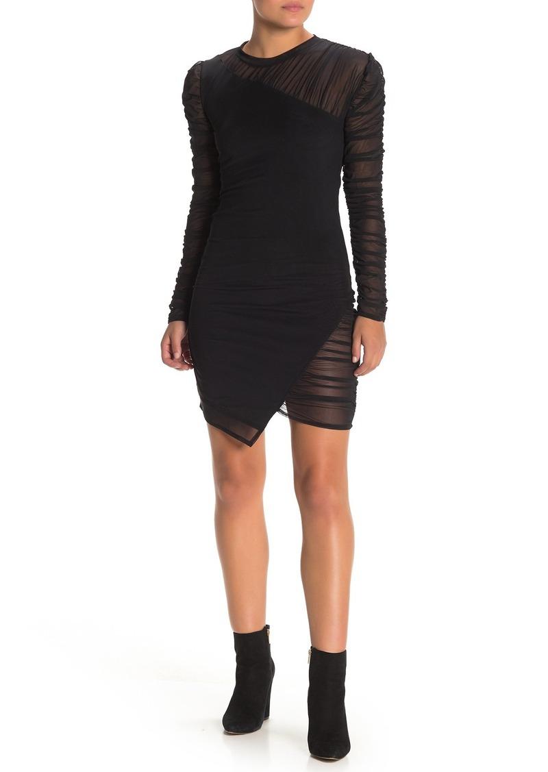 Kendall + Kylie Asymmetrical Hem Ruche Mesh Dress