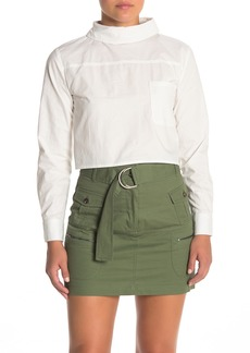 Kendall + Kylie Backwards Spread Collar Long Sleeve Shirt
