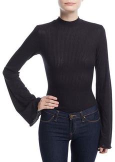 Kendall + Kylie Bell-Sleeve Mock-Neck Bodysuit