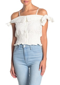Kendall + Kylie Broderie Anglaise Eyelet Lace Crop Tank
