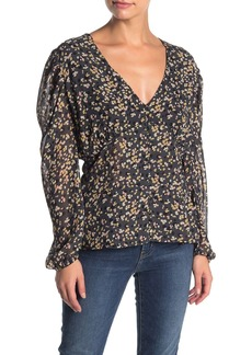 Kendall + Kylie Chiffon Button Front Long Sleeve Blouse