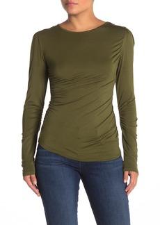 Kendall + Kylie Crew Neck Long Sleeve Ruche Shirt