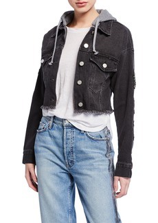Kendall + Kylie Cropped Denim Frayed Trucker Jacket w/ Hood
