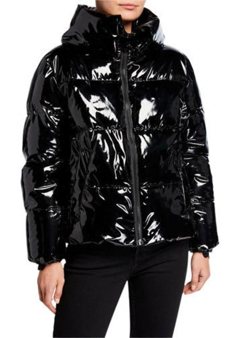 Kendall + Kylie Cropped Vinyl Puffer Jacket