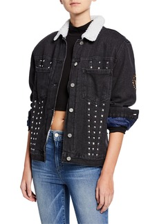 Kendall + Kylie Embroidered Oversize Trucker Jacket