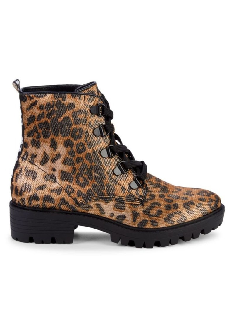 Kendall + Kylie Epic Leopard-Print Combat Boots
