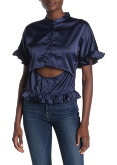 Kendall + Kylie Front Cutout Ruffled Satin Blouse