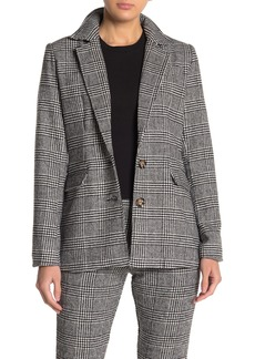 Kendall + Kylie Houndstooth Plaid Two Button Blazer
