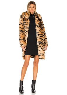 KENDALL + KYLIE Faux Fur Animal Print Coat