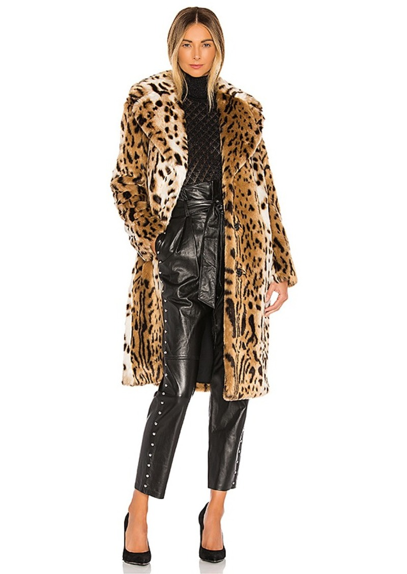 KENDALL + KYLIE Faux Fur Long Leopard Coat