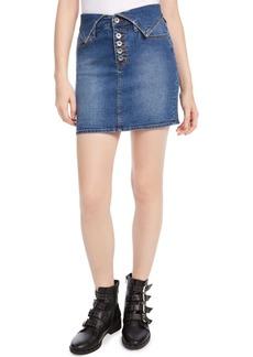 Kendall + Kylie Flipped-Waistband Denim Skirt