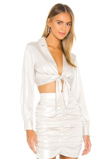 KENDALL + KYLIE Gloss Front Tie Cropped Top