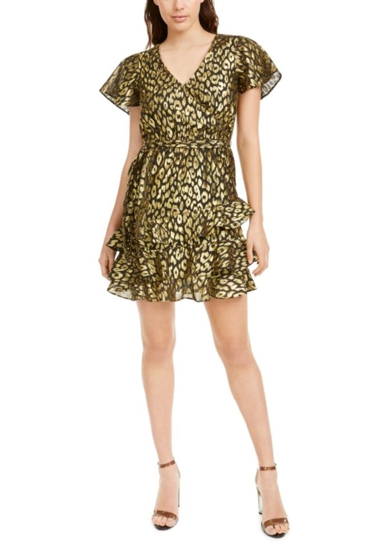 Kendall + Kylie Gold-Foil Animal-Print Mini Dress