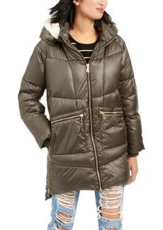 Kendall + Kylie Hooded Faux-Fur-Trim Puffer Coat