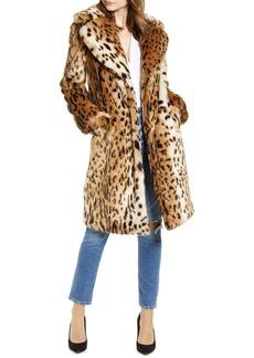 KENDALL + KYLIE Leopard Faux Fur Coat