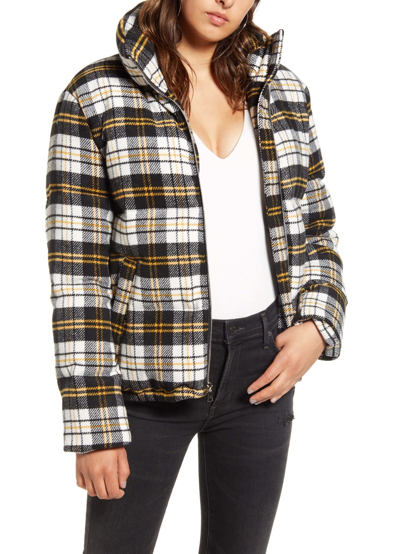KENDALL + KYLIE Plaid Bomber Puffer Jacket